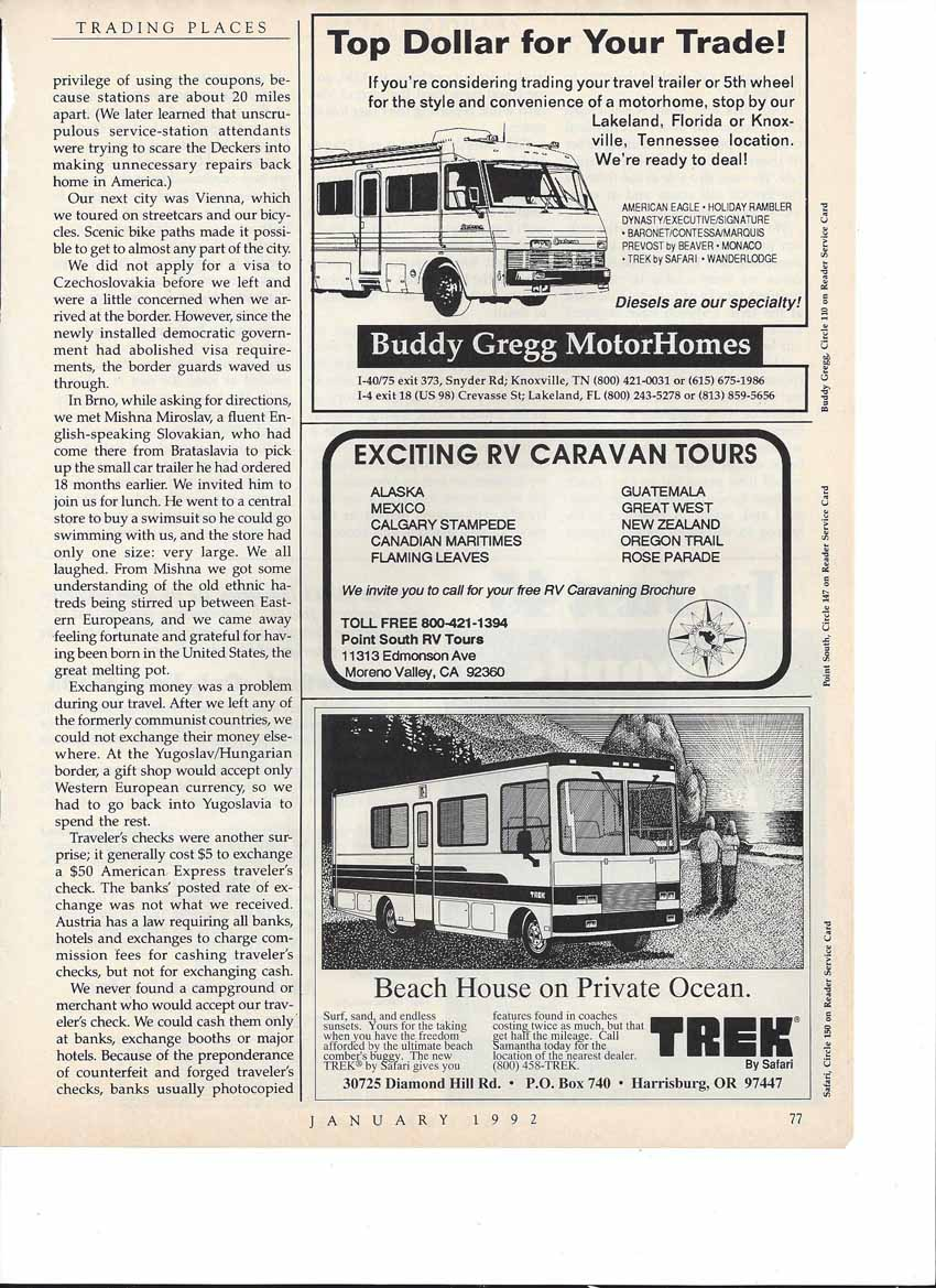 """Full Page from Safari Magazine January 1992 issue """"The new TREK by Safari gives you features found in coaches costing twice as much but that half the"""